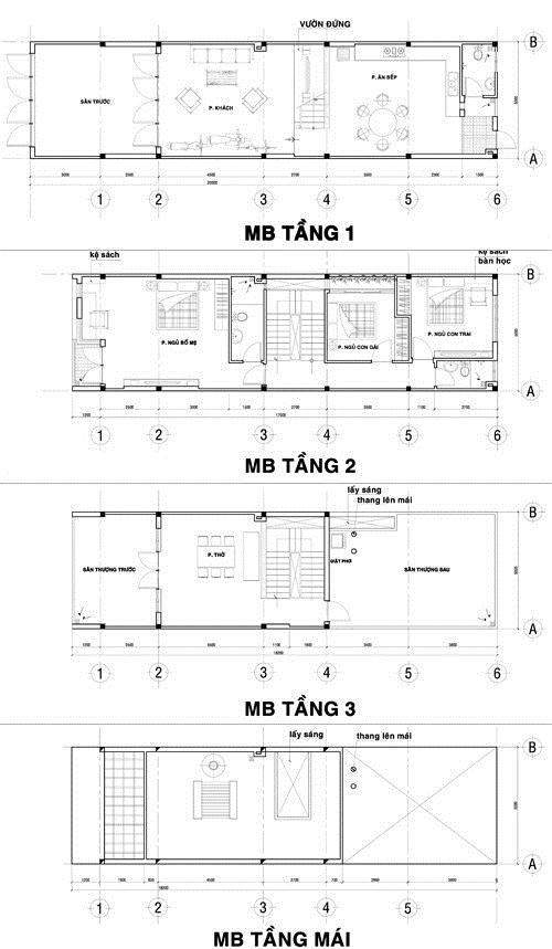 thiet ke nha pho 4 tang dep 3465 Thiết kế nhà ống đẹp 5x20m 4 tầng hiện đại mới 2015