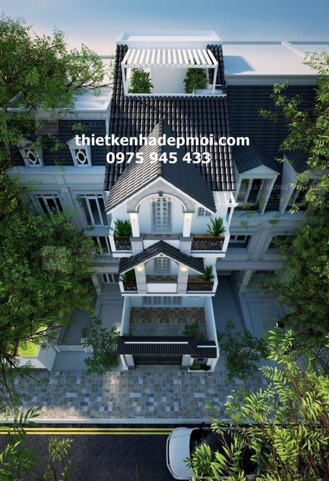 Phối cảnh kiến trúc theo đường chim bay nhà biệt thự phố 1 trệt 2 lầu 1 sân thượng mái ngói