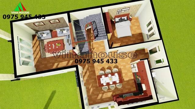 Cách bố trí mặt bằng các phòng tầng trệt nhà biệt thự hiện đại 2 tầng 9x12