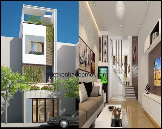 Thiết kế nội thất tầng trệt và phối cảnh 3D nhà ống 4 tầng sân thượng mặt tiền 3m