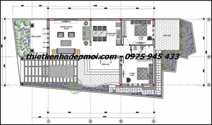 Mặt bằng bố trí kích thước nhà cấp 4 lợp ngói kiểu thái 2 phòng ngủ anh Quyền Nghệ An
