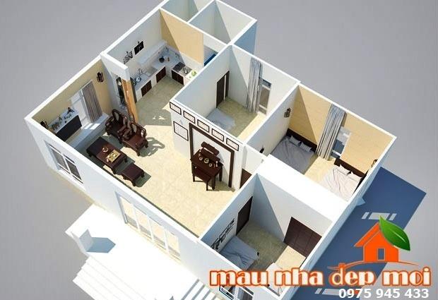 Mặt bằng nội thất nhà cấp 4 mái ngói ở nông thôn ba gian hai chái 10x12