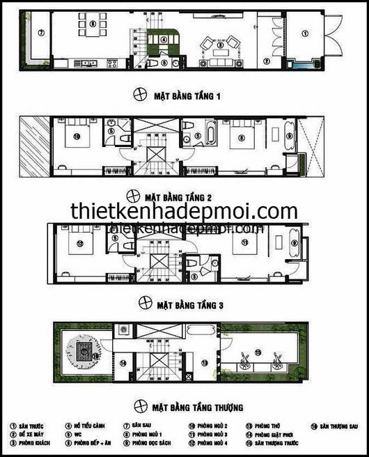 Bản vẽ mặt bằng bố trí nội thất bên trong nhà phố 4 tầng hiện đại 3x18
