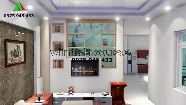 Phòng khách nhà biệt thự mini 1 trệt 1 lầu thiết kế sáng đẹp đẹp tone màu trắng thanh lịch hiện đại
