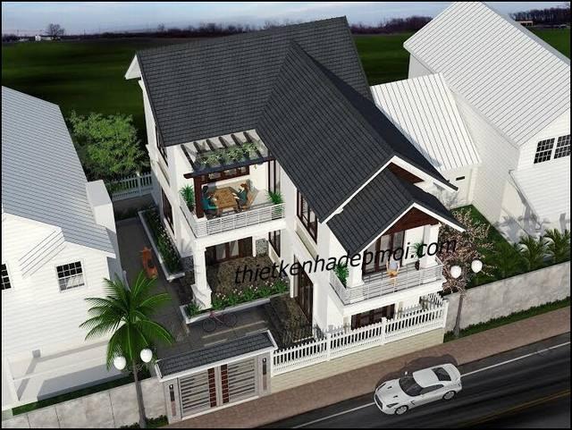mẫu nhà đẹp 2 tầng mái thái ở nông thôn 1424