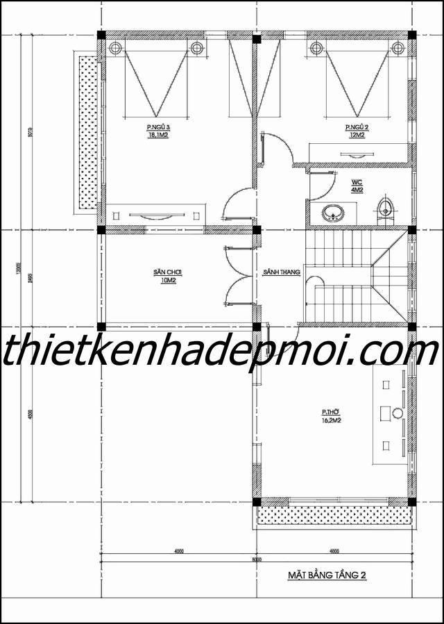 mẫu nhà đẹp 2 tầng mái thái ở nông thôn 1426
