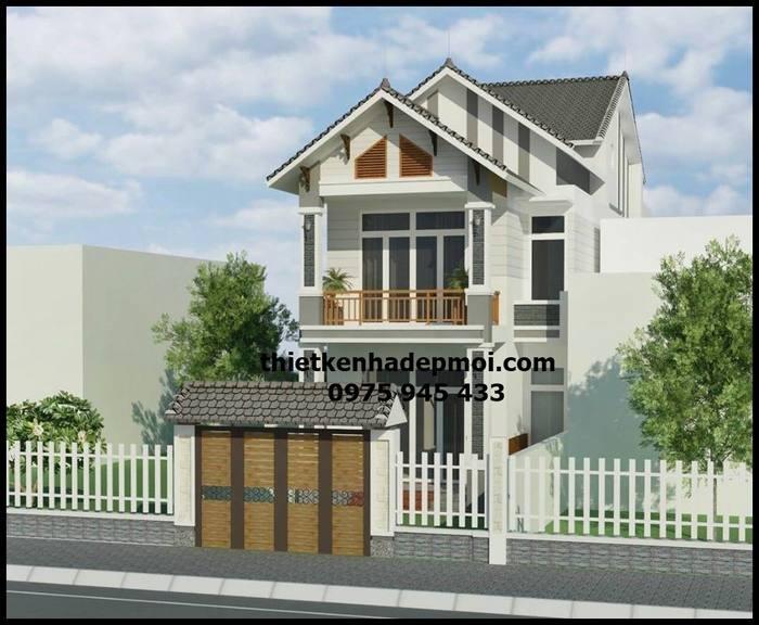 Bản vẽ nhà mái thái 2 tầng đẹp