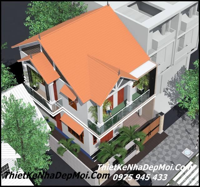 Xây nhà 2 mặt tiền mái thái