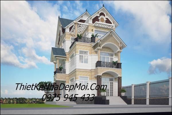 thiết kế biệt thự phố 3 tầng 8x20m